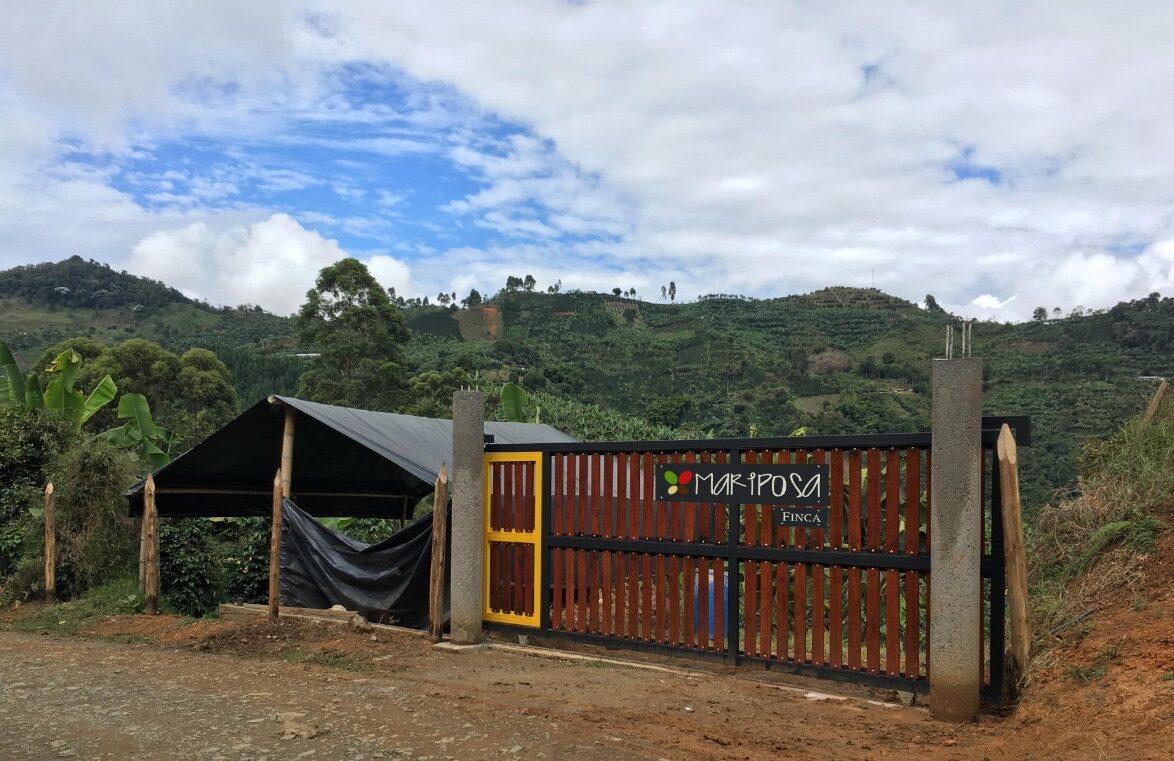front gate of Finca Mariposa in Jardin Colombia